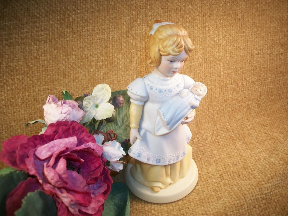 """Avon Porcelain Figurine Girl with Baby Doll """"A Mother's Love"""" Vintage Home Decor"""