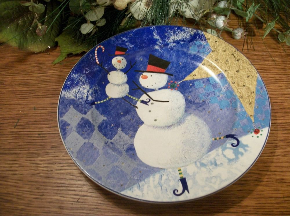 """Snowmen Plate Zuauf Snow Pals Oneida Stoneware 8"""" Dessert Christmas Cookie Dish"""