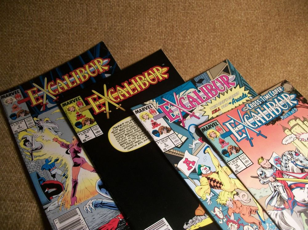 Marvel Comic Books Lot of 4 VTG Excalibur Cross Time Caper Arcade Kitty Cover