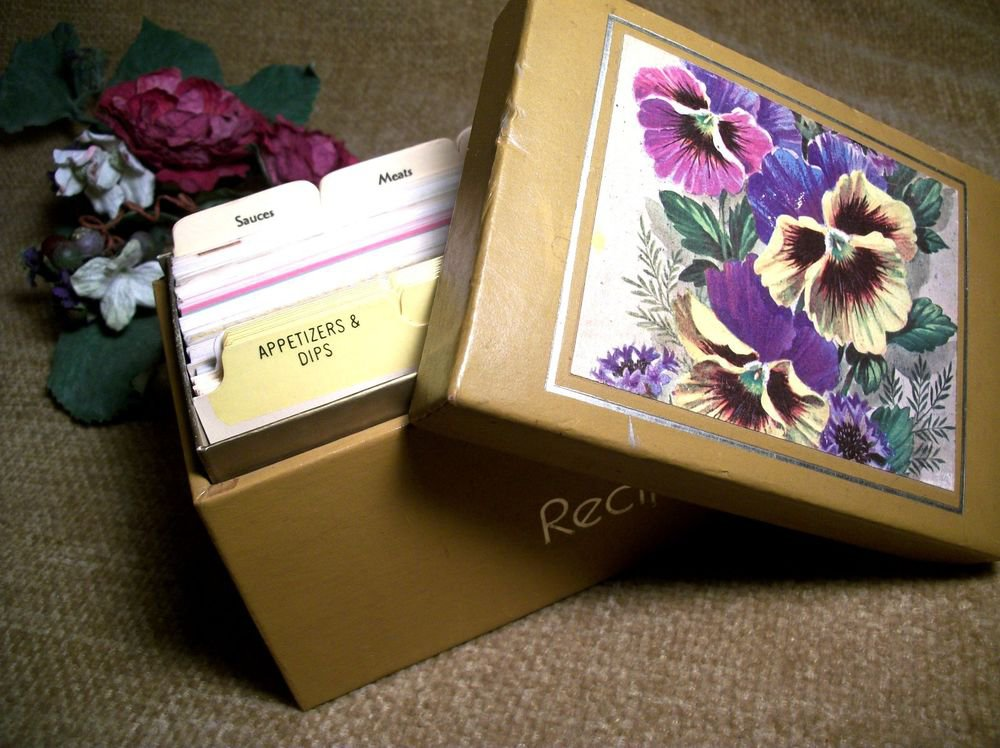 Antique Recipe Card Box Flowers Floral Pansy Pansies Mid Century Kitchen Decor