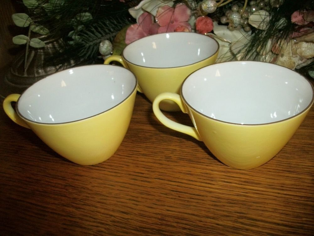 Yellow Tea Cups Gold Rim Coffee Serving Dishes Three Vintage China Tableware