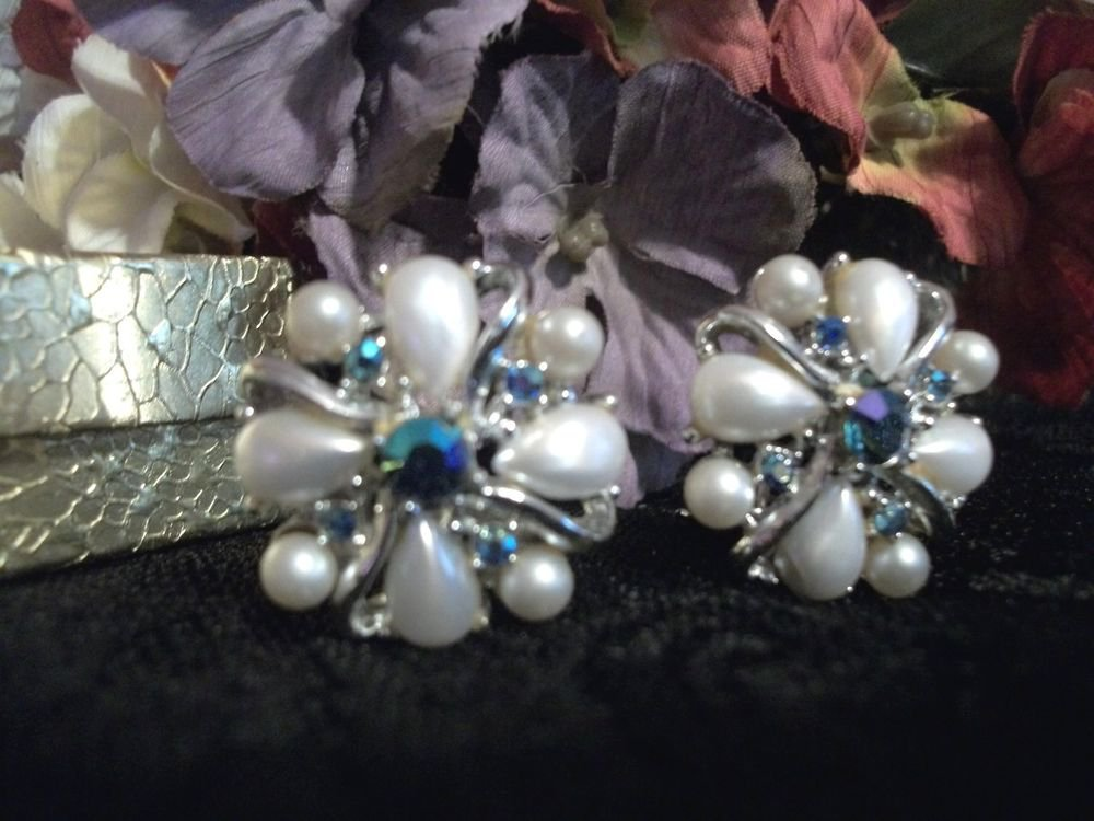 Clip On Earrings ART Signed VTG Jewelry Silver Metal Blue Rhinestone White Pearl
