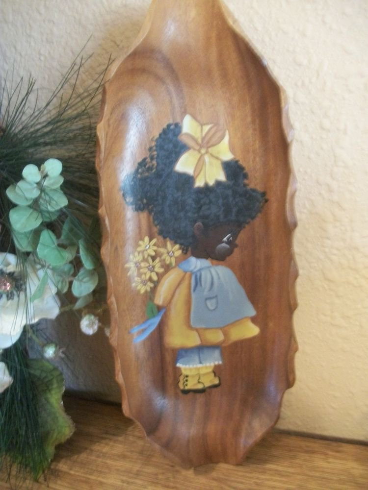 Monkeypod Wood Bowl Tray Wall Decor Hand Painted Black Girl Child Daisy Flowers