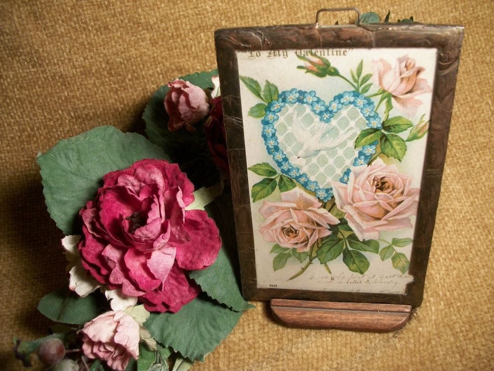 Antique 1906 Valentine's Day Postcard in Glass Covered Metal Frame Wooden Stand