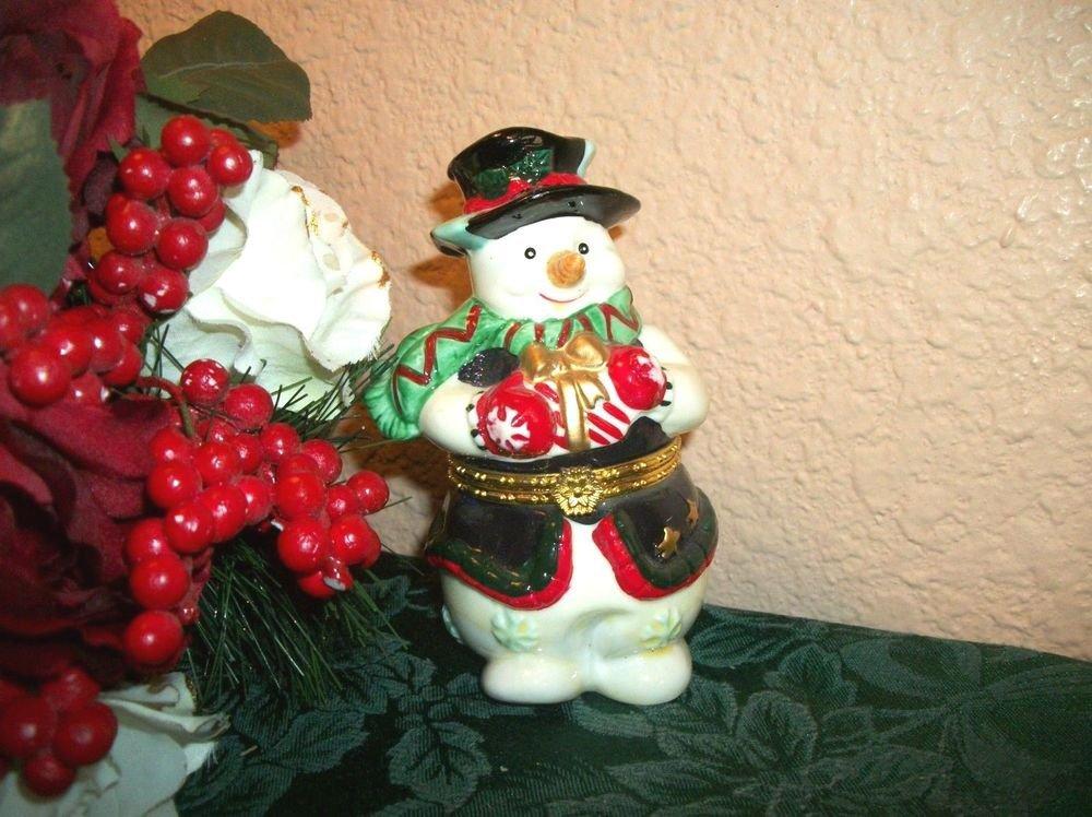 Ceramic Snowman Figurine Gift Ring Trinket Box Winter Christmas Decor