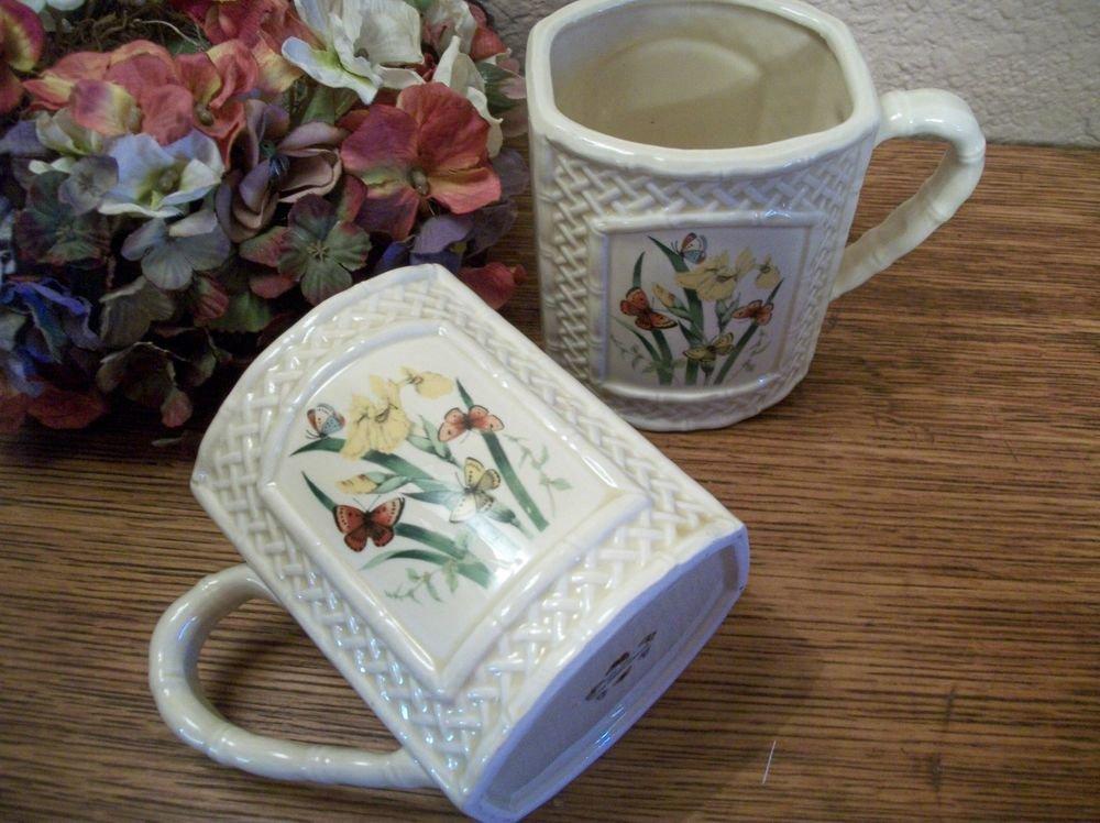Coffee Mug Set VTG Enesco Garden Trellis Floral Ceramic Beverage Serving Cups