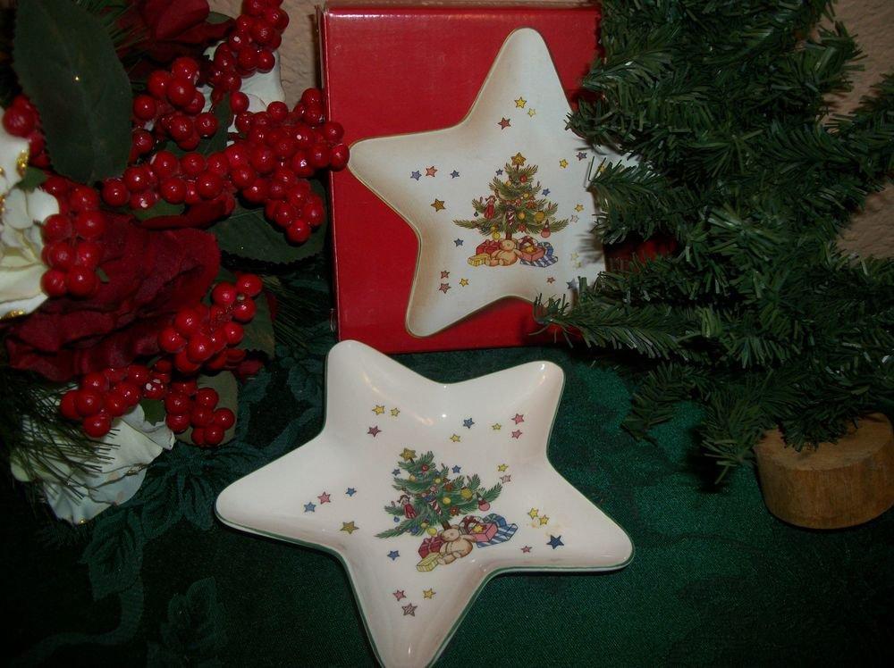 "Star Treat Dish 6"" Nikko Fine China Happy Holidays Christmas Tableware VTG"