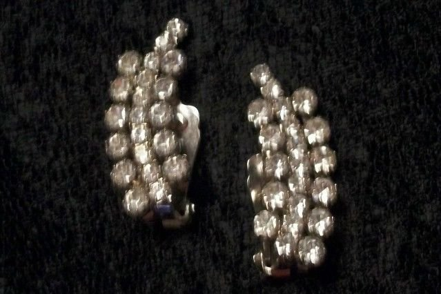 Rhinestone Earrings Clip-On Formal Evening Bling Vintage Costume Jewelry