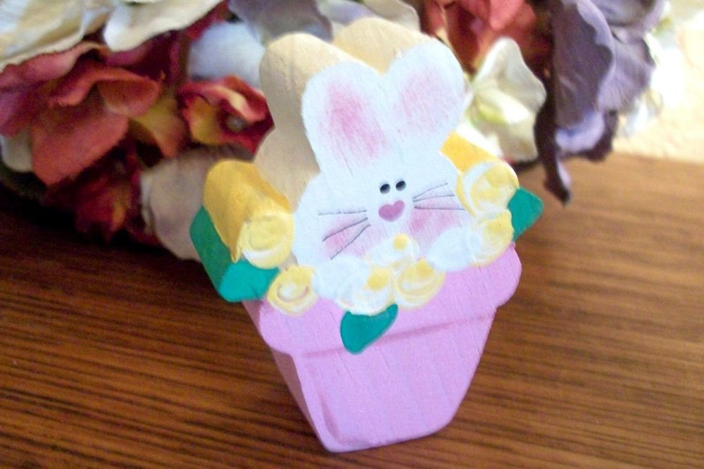 Bunny Rabbit in Flower Pot Handpainted Pine Wood Spring Garden Home Decor
