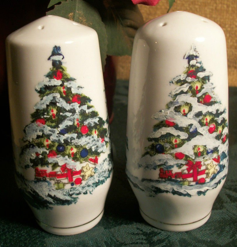 Salt and Pepper Shakers White Porcelain Winter Holiday Christmas Tree Design