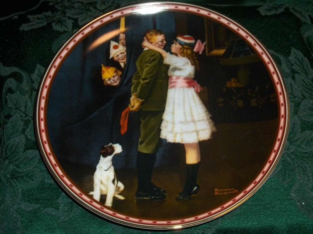 Norman Rockwell Kiss and Tell Knowles Fine China Decorative Plate Vintage 1988
