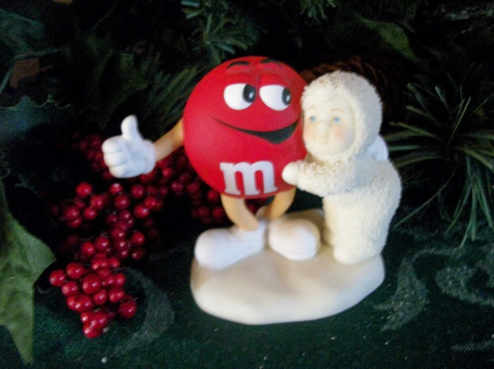 Dept 56 Snowbabies Figurine M&M Candy Red is My Favorite Christmas Decoration