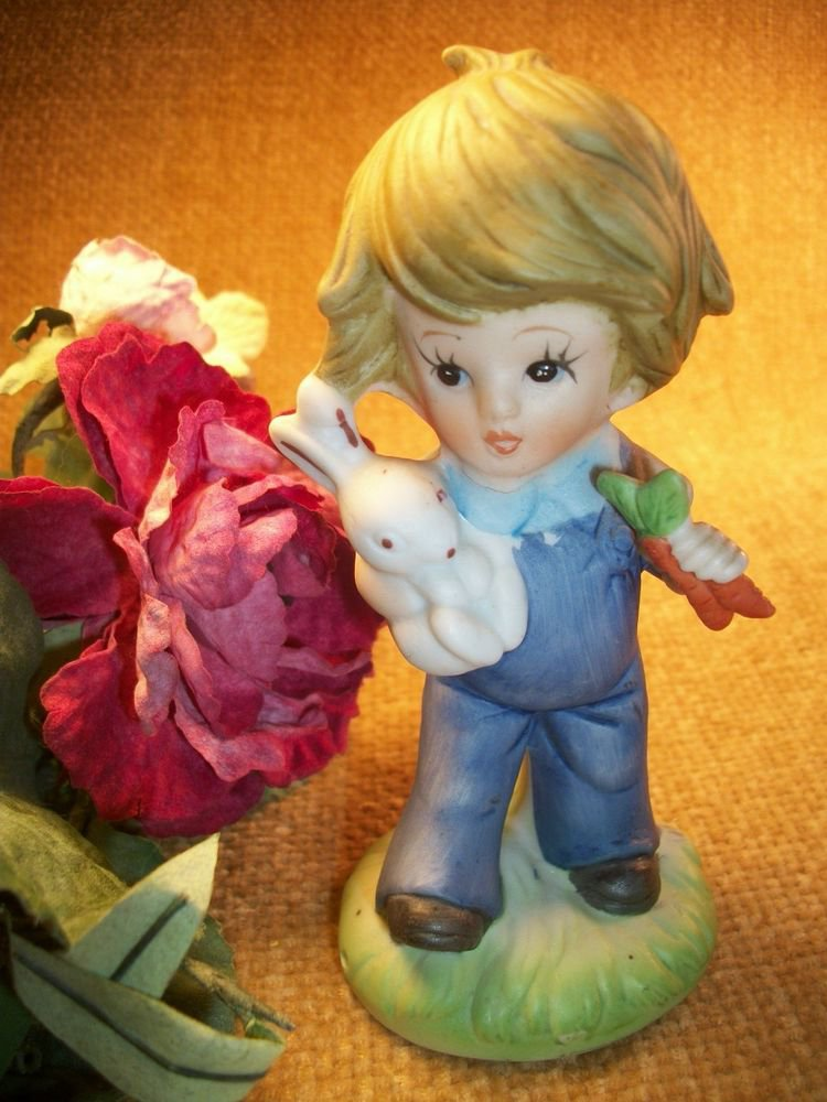 Country Boy with White Bunny Rabbit VTG Porcelain Bisque Collectible Figurine