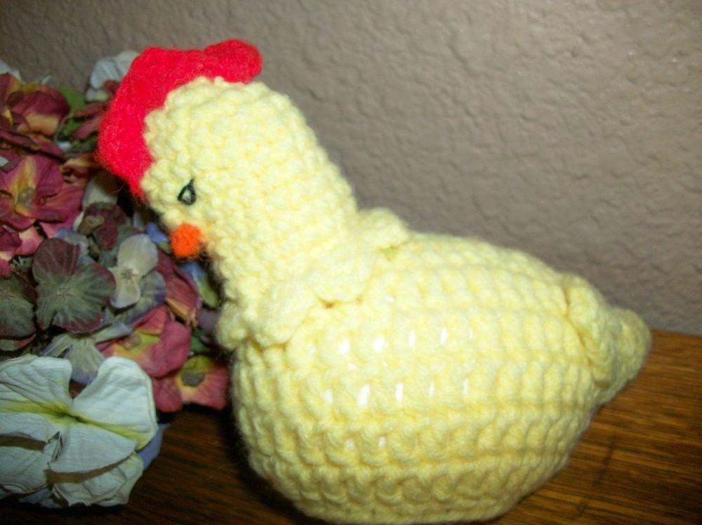 Crochet Chicken Plastic Egg Candy Trinket Box VTG Handcrafted Home Decor Kitsch
