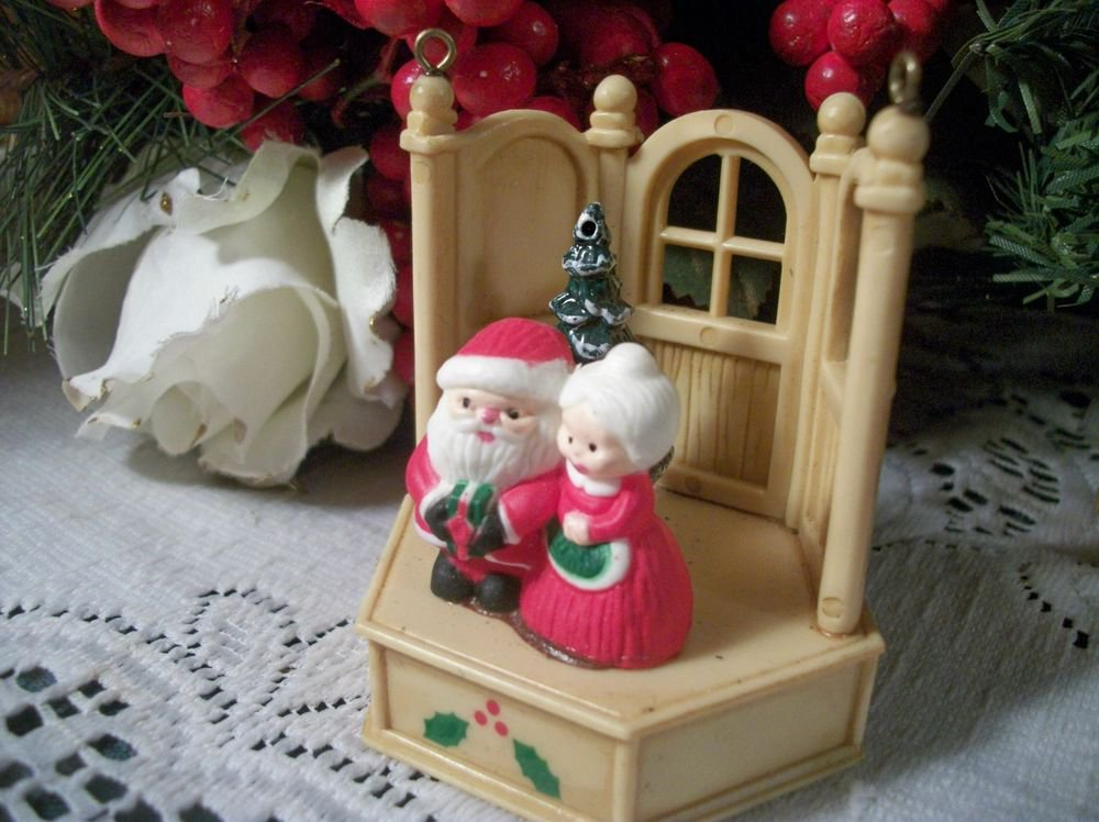 Santa  & Mrs Claus Ornament Antique 1940s Celluloid Figurine Christmas Decor VTG