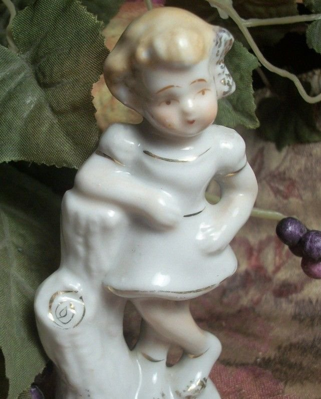 Mid-Century Girl White and Gold Porcelain Figurine VTG Made in Japan Collectible