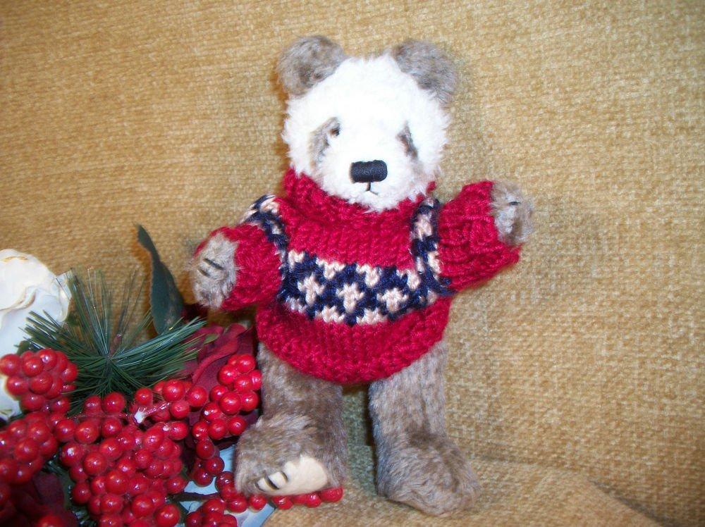 Brown Panda Christmas Stuffed Animal Red and Green Knit Sweater by Hugfun 1998
