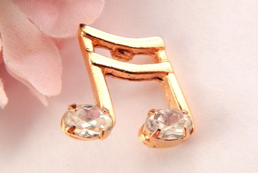 Musical Notes Lapel Pin Gold Metal Rhinestone Brooch Music Gift Vintage Jewelry