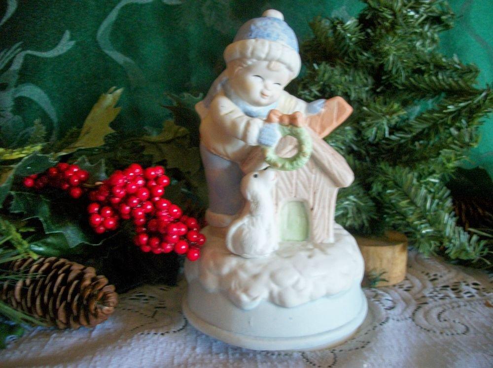 Joy to the World Rotating Music Box Ceramic Boy and Dog Christmas Figurine