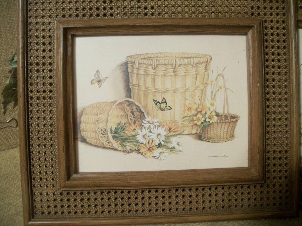 Vintage HOMCO Baskets Flowers Butterflies Framed Art Print by Claudessa Carter