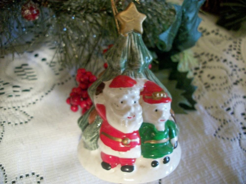 Ceramic Christmas Tree Bell Ornament Hand Painted Santa and Mrs Claus Home Decor