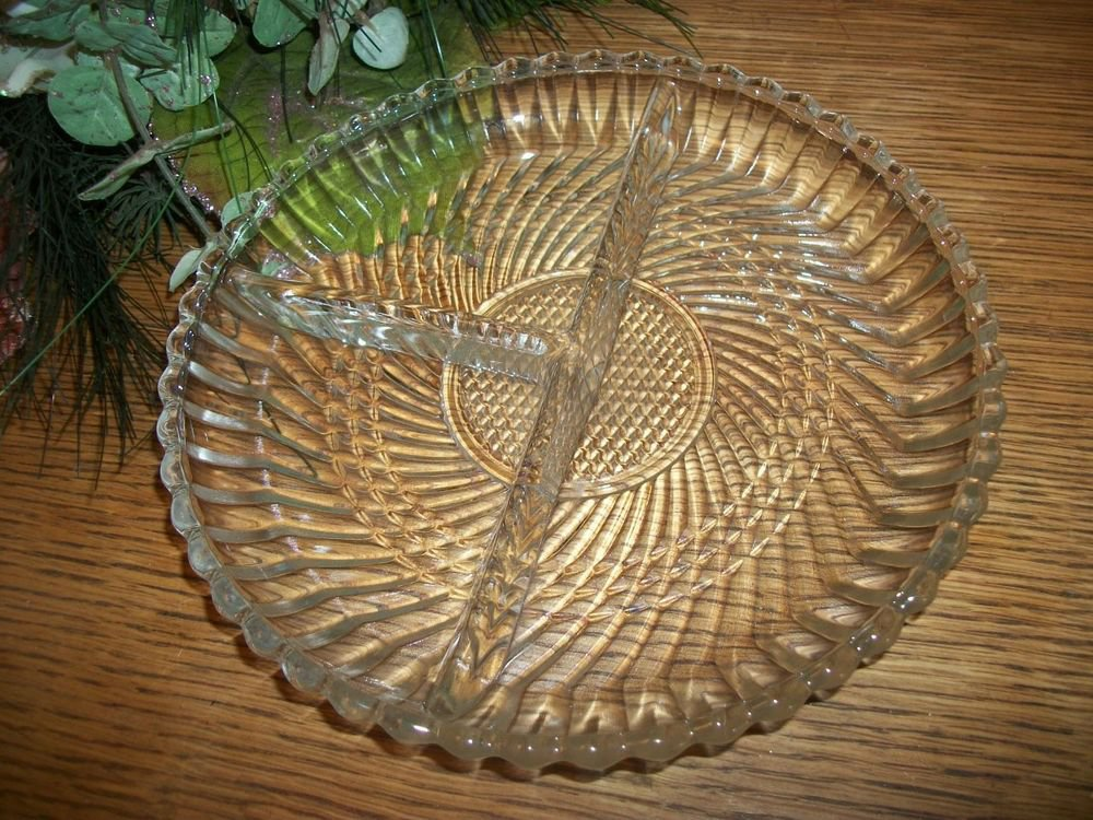 Serving Dish Pressed Glass 3 Section Divided Dish VTG Art Deco Tray Platter