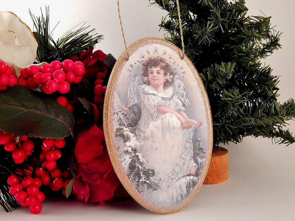 Victorian Angel Christmas Ornament Vintage Decoupage Oval Wood Wall Hanging