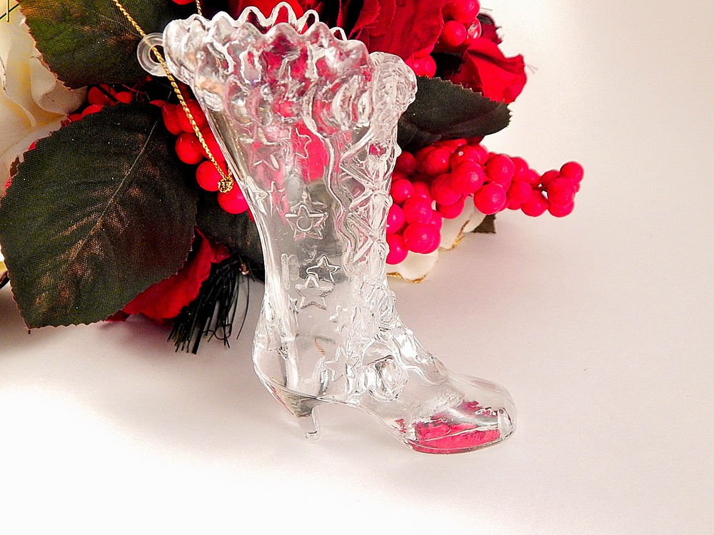 Victorian Boot Christmas Tree Ornament Vintage Molded Plastic Shoe Figurine