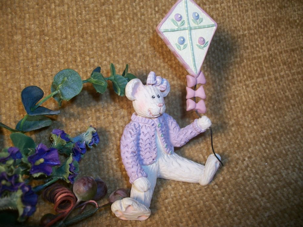 Teddy Bear with Kite Figurine Designer Gail West Vintage Home Decor