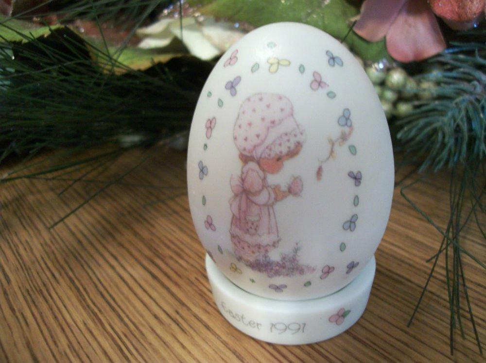 Precious Moments White Porcelain Egg w/ Stand Easter 1991 VTG Enesco Home Decor