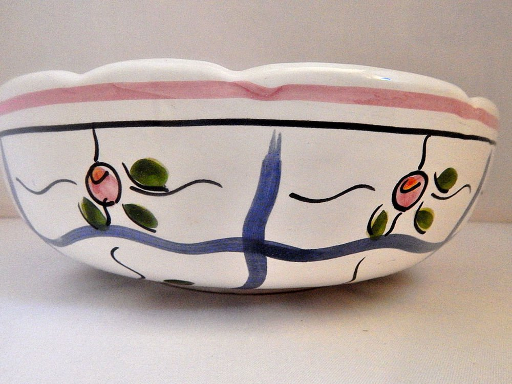 Stoneware Bowl Williams Sonoma Grande Cuisine Pink and Blue Floral Pottery