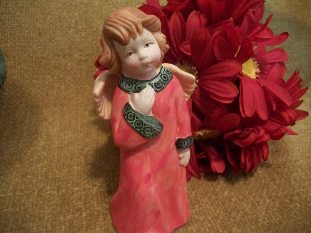 Porcelain Bisque Angel Figurine Vintage Collectible Blond Girl in Red Robe