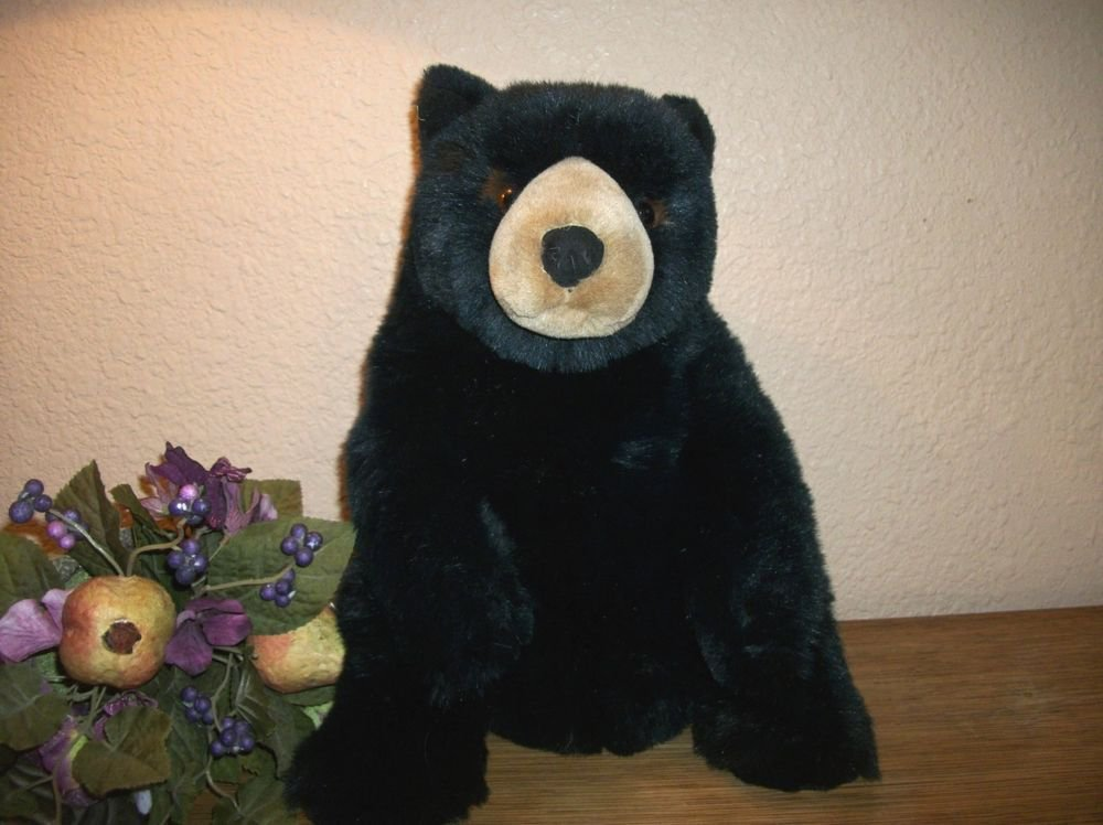 "Dakin Black Grizzly Bear Stuffed Animal 12"" Silky Plush Rare 2012 Applause Toy"