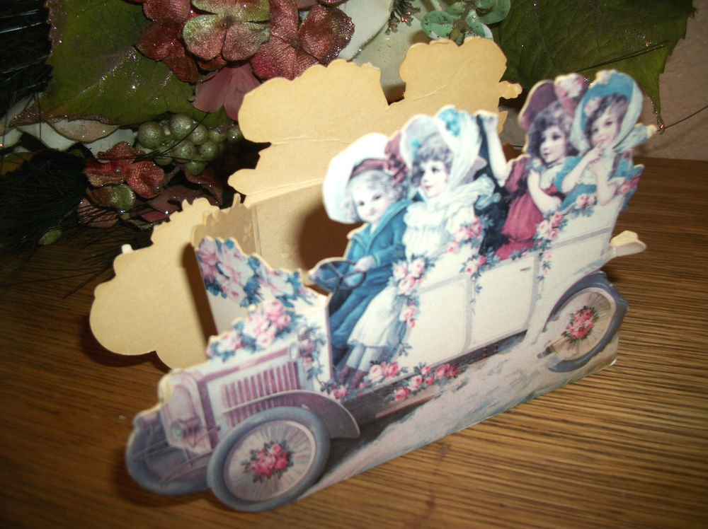 Victorian Die Cut Cardboard Basket Box Children Tour Car Parade Paper Ephemera