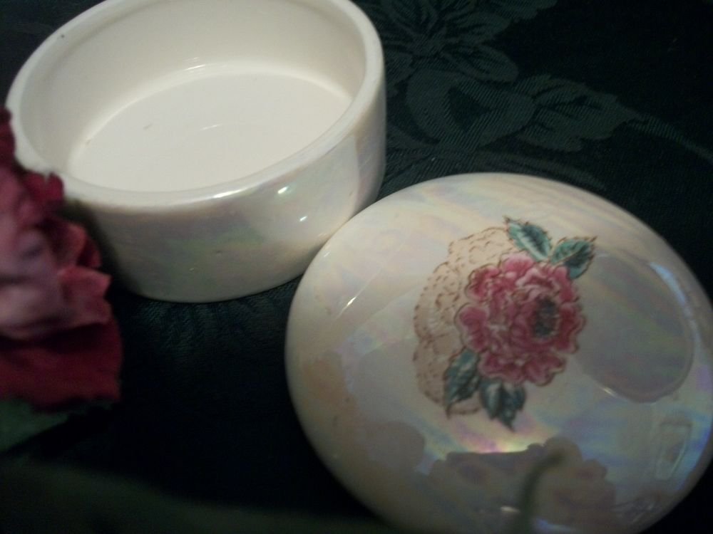 Floral Trinket Box VTG Ceramic Opalescent Ring Jewelry Storage Covered Dish