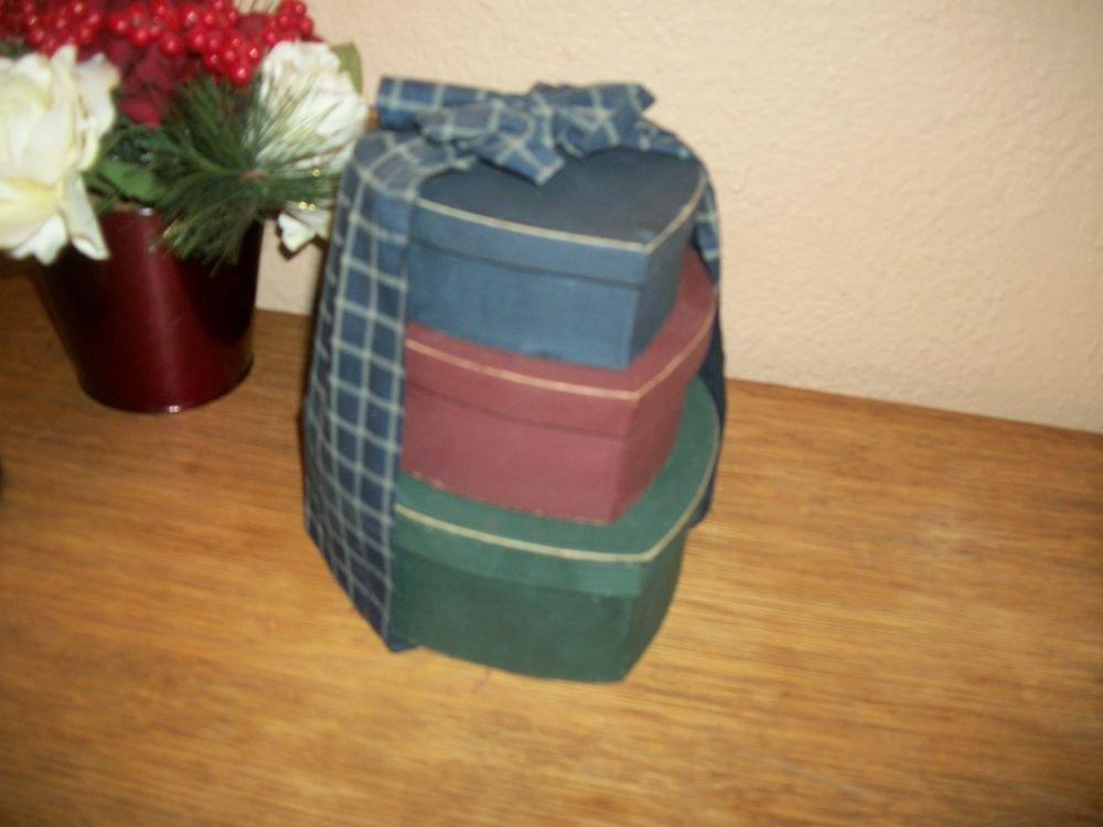 Nesting Box Set Three Heart Shape Red Blue Green Plaid Bow Covered Storage Decor
