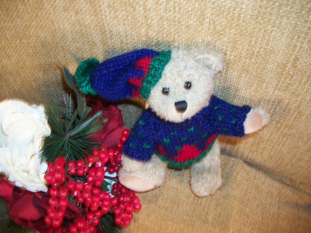 Beige Bear Christmas Stuffed Animal Holiday Knit Sweater and Hat by Hugfun 2000