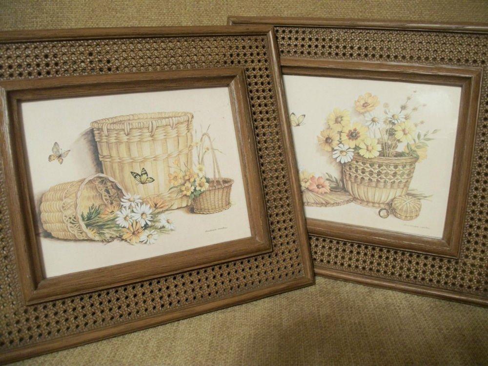 Vintage HOMCO Claudessa Carter Baskets Flowers Butterflies Framed Art Prints