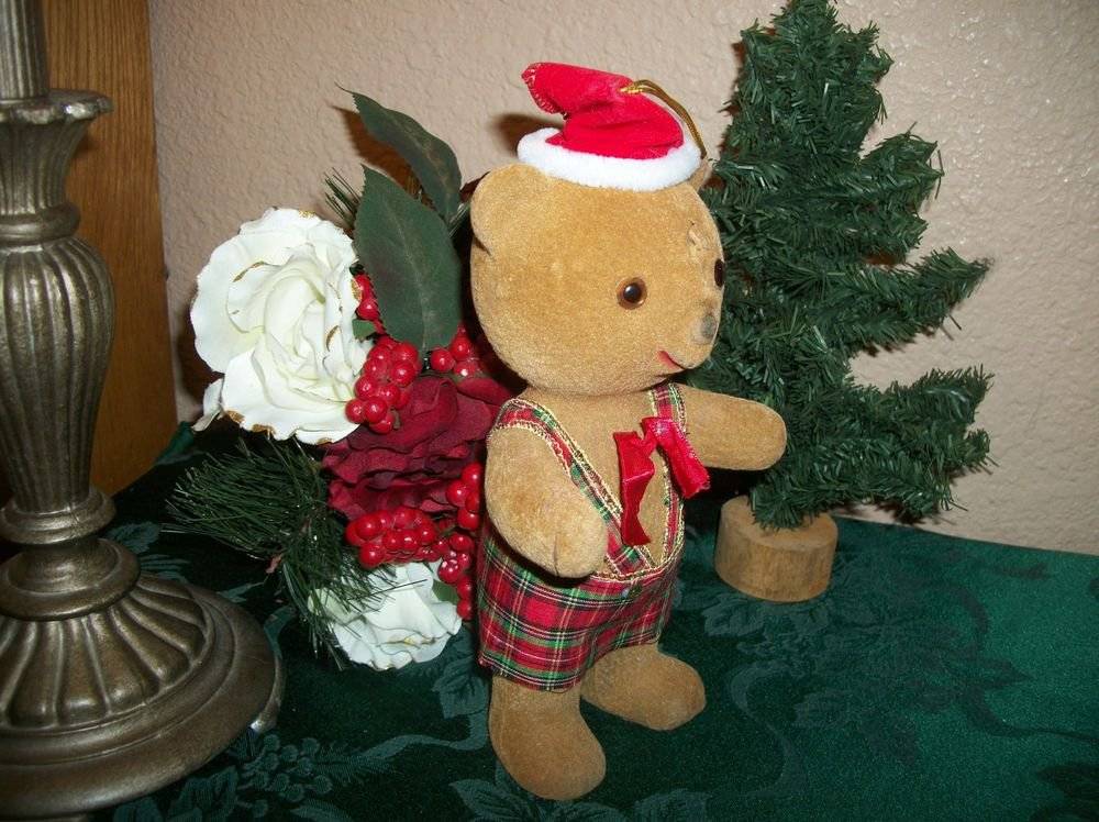 VTG Flocked Plastic Christmas Toy Brown Teddy Bear Wearing Santa Hat Retro Decor