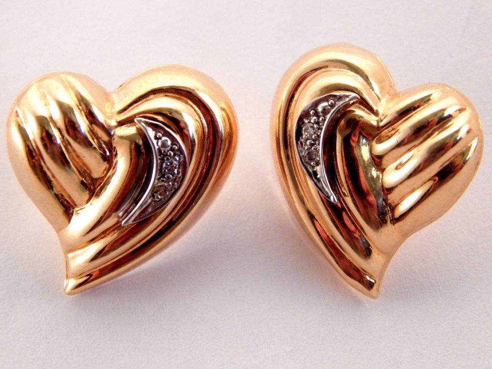 Genuine Diamond Free Form Heart Earrings 14k Yellow Gold Vintage Fine Jewelry