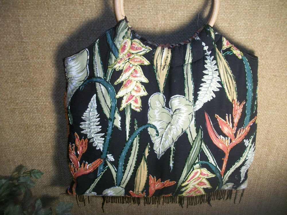 Boho Baik Baik Honolulu Vintage Beaded Tropical Print Rayon Handbag