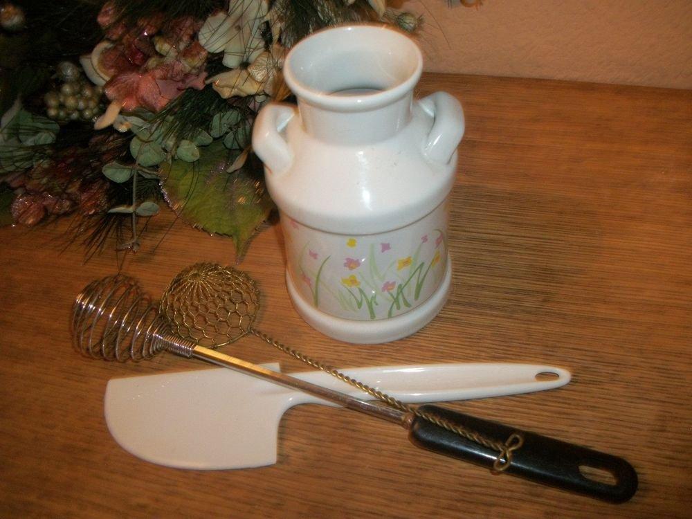 VTG Ceramic Kitchen Tools Jar White Ceramic Milk Can Caddy Pink Yellow Flowers