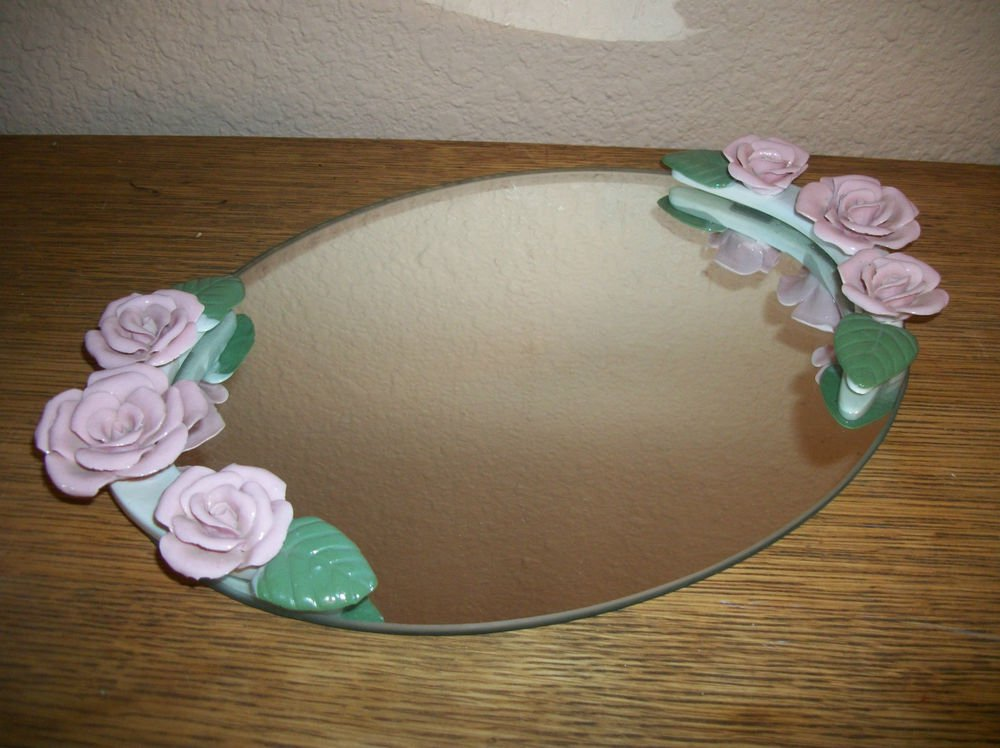 Vanity Table Tray Oval Mirror VTG 1960s Pink Resin Roses Cottage Chic Home Decor