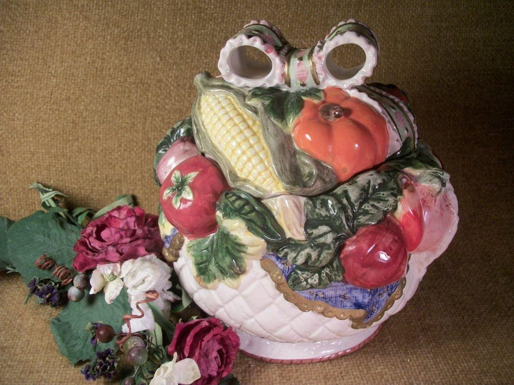 Cookie Jar or Soup Tureen White Basket Garden Vegetables Ornate Vintage Ceramic