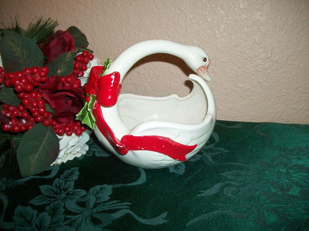 Christmas Goose Bowl VTG Fitz and Floyd Hand Painted Ceramic Tableware Decor