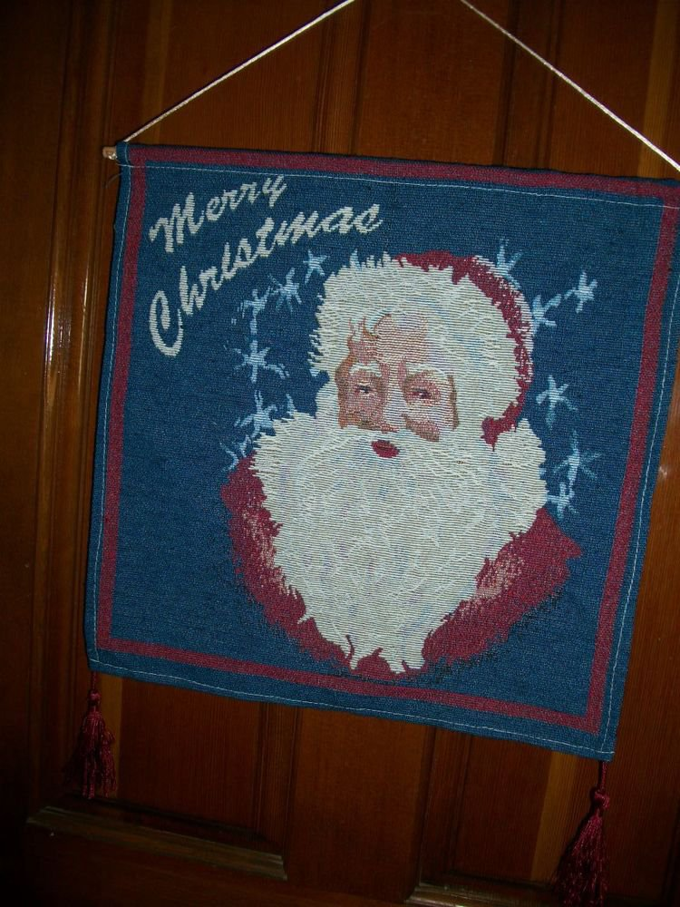 Santa Claus Stars Merry Christmas Wall Hanging Banner Red White Blue Tapestry