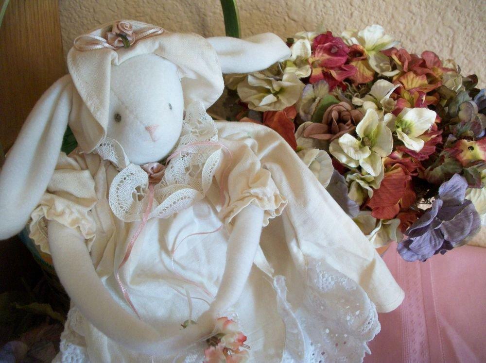 Rabbit Doll Beige White Bunny Cottage Chic Home Decor Long Legged Soft Sculpture