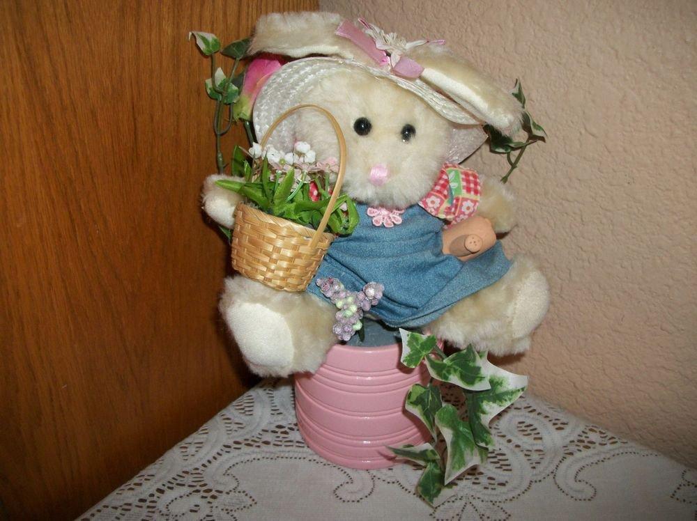 White Bunny Rabbit Floral Centerpiece Spring Garden Stuffed Animal Home Decor