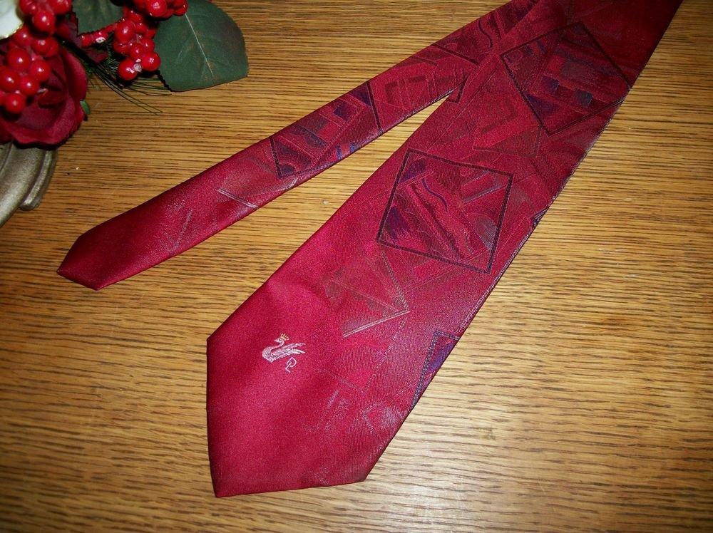 Donloper Beverly Hills Red Tie Polyester Silk Blend VTG Mens Designer Necktie