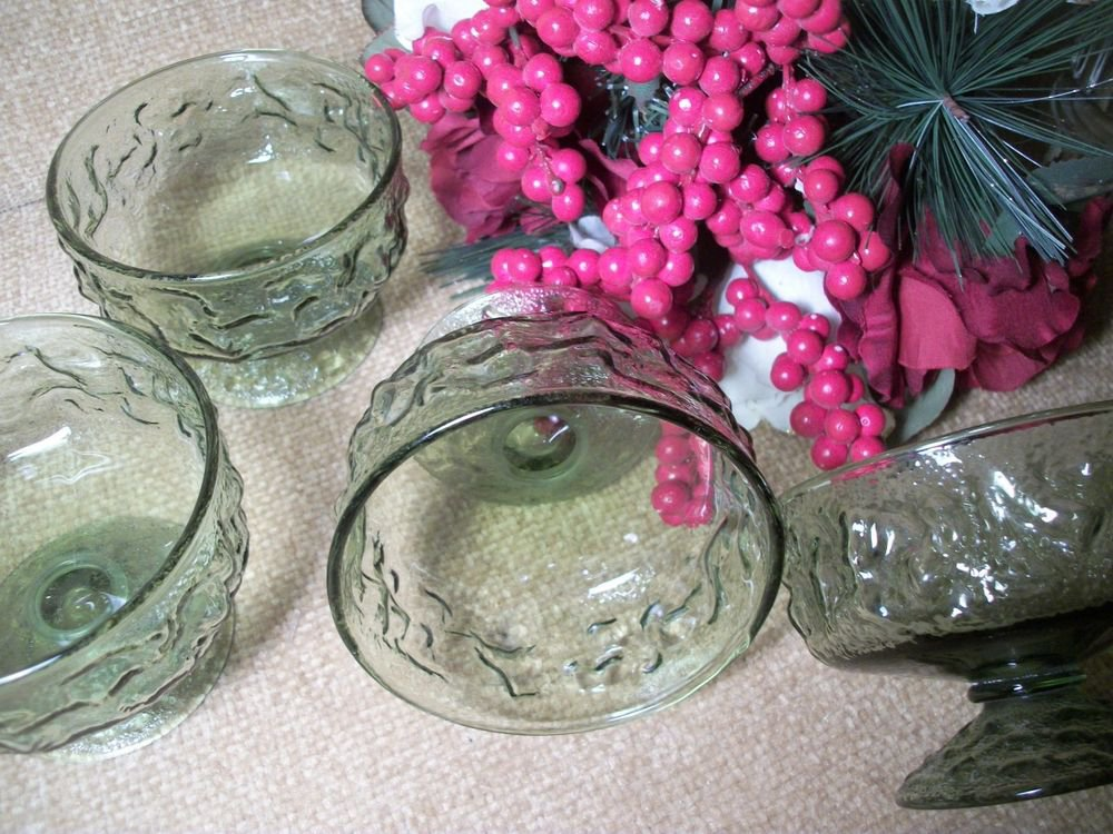 Anchor Hocking VTG 1960's Olive Green Glass Lido Milano Dessert Dishes Bowls